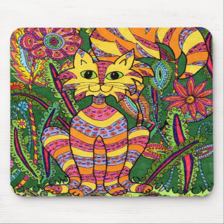 Gato vivo 2 del jardín tapetes de ratón