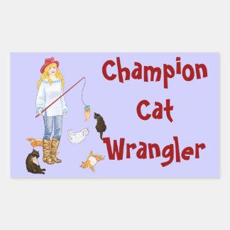 Gato Wrangler del campeón Pegatina Rectangular