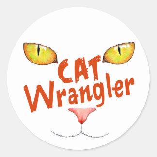 Gato Wrangler Pegatina Redonda