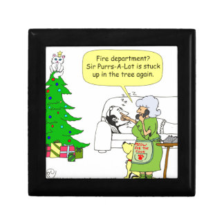 gato x34 encima del dibujo animado del árbol cajas de recuerdo