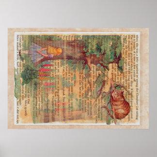 Gato y Alicia de Cheshire Posters