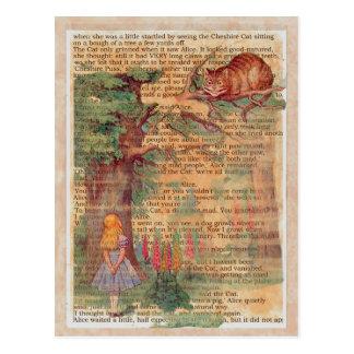 Gato y Alicia de Cheshire Postales
