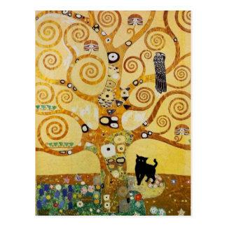 Gato y árbol de la vida postal