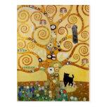 Gato y árbol de la vida tarjeta postal