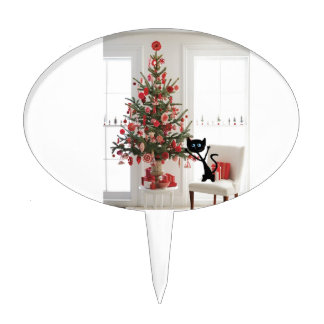 Gato y árbol de navidad decoración para tarta