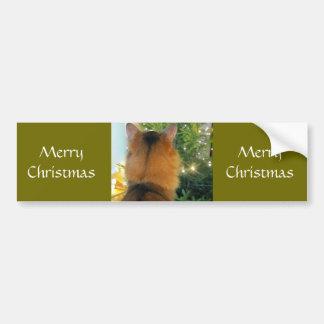 Gato y árbol de navidad pegatina para coche