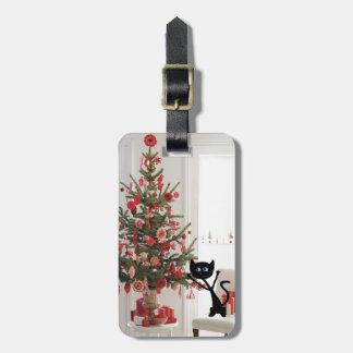 Gato y árbol de navidad etiquetas para maletas