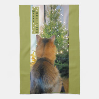 Gato y árbol de navidad toalla