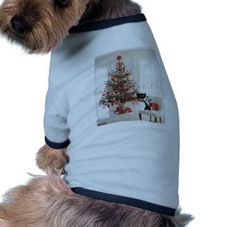 Gato y árbol de navidad ropa de perros