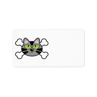 gato y bandera pirata del gatito de la actitud etiqueta de dirección