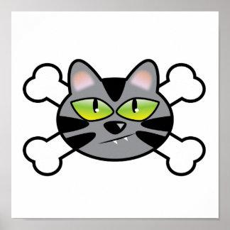 gato y bandera pirata del gatito de la actitud póster