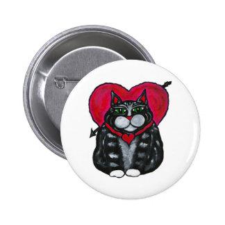 Gato y botón gordos del el día de San Valentín de  Pin Redondo De 2 Pulgadas