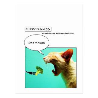 Gato y bróculi peludos del ~ de Funnies Postales