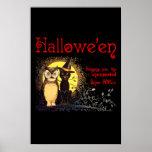 Gato y búho en el poster de Halloween del vintage
