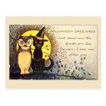 Gato y búho en la postal de Halloween del vintage