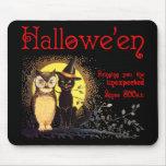 Gato y búho Mousepad de Halloween del vintage Alfombrillas De Ratón