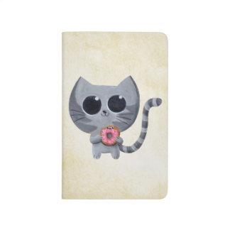 Gato y buñuelo grises lindos cuaderno