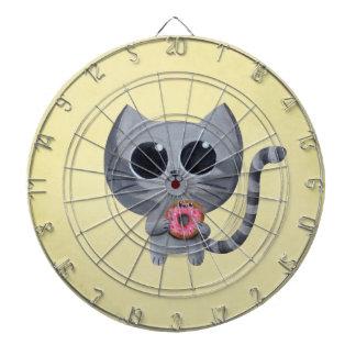 Gato y buñuelo grises lindos tablero de dardos