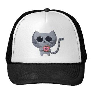 Gato y buñuelo grises lindos gorro de camionero