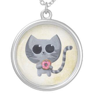Gato y buñuelo grises lindos joyeria personalizada