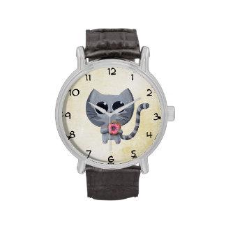 Gato y buñuelo grises lindos relojes de pulsera