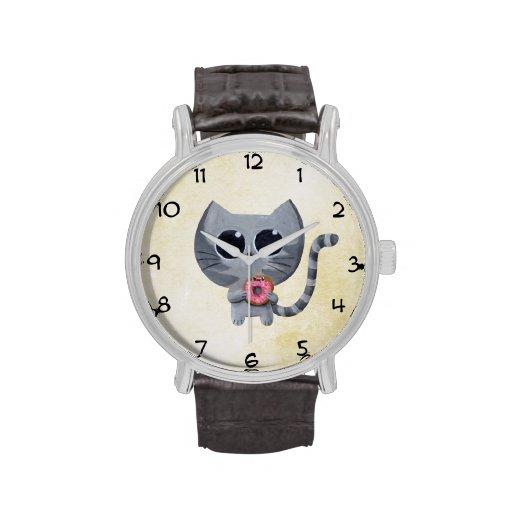 Gato y buñuelo grises lindos relojes