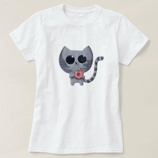 Gato y buñuelo grises lindos remeras
