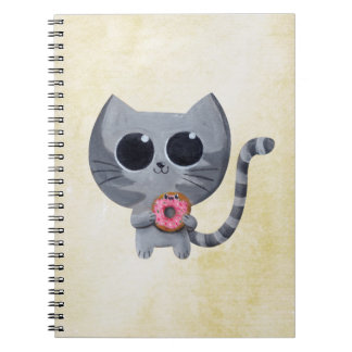 Gato y buñuelo grises lindos spiral notebooks