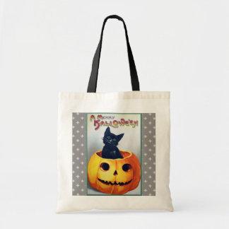 Gato y calabaza de Halloween del vintage Bolsas