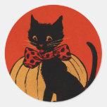 Gato y calabaza de Halloween Pegatina