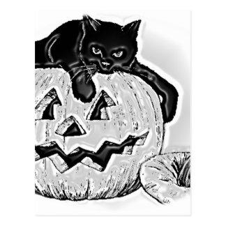 Gato y calabaza Halloween Tarjeta Postal