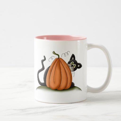Gato y calabaza tazas
