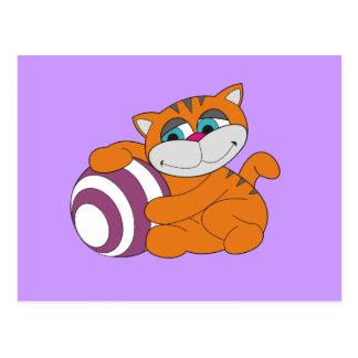 Gato y camisetas y regalos anaranjados de la bola postal