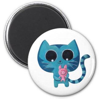 Gato y cerdo lindos del gatito imán redondo 5 cm
