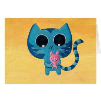 Gato y cerdo lindos del gatito tarjeta de felicitación