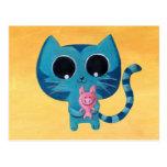 Gato y cerdo lindos del gatito tarjeta postal
