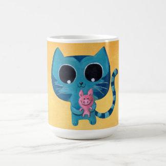 Gato y cerdo lindos del gatito taza de café
