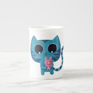 Gato y cerdo lindos del gatito taza de porcelana