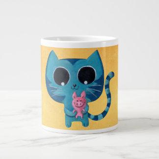 Gato y cerdo lindos del gatito taza grande