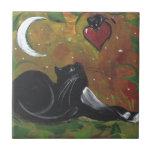 Gato y corazón negros del smoking azulejo ceramica