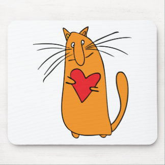 gato y corazón alfombrilla de ratones
