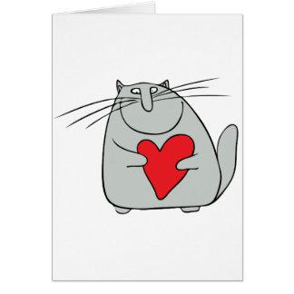 gato y corazón tarjeta de felicitación
