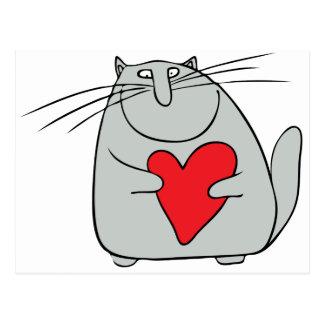 gato y corazón tarjetas postales