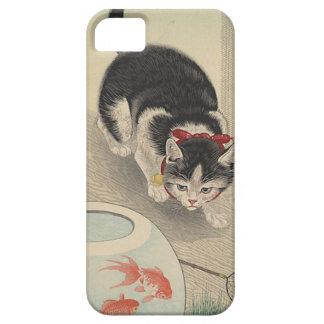 Gato y cuenco de Goldfish de Ohara Koson Funda Para iPhone SE/5/5s