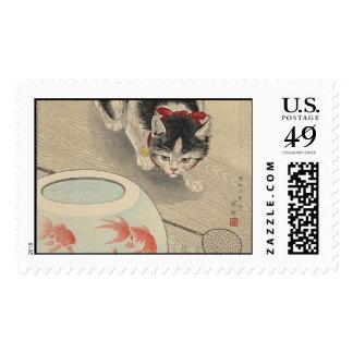Gato y cuenco de Goldfish de Ohara Koson Sellos