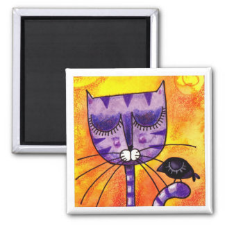 Gato y cuervo púrpuras - imán cuadrado