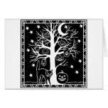 Gato y el árbol de la calabaza tarjeta