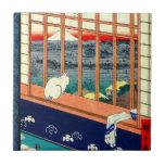 Gato y el monte Fuji 1857 Azulejo Cuadrado Pequeño