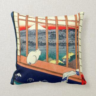 Gato y el monte Fuji 1857 Cojín