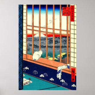 Gato y el monte Fuji 1857 Póster